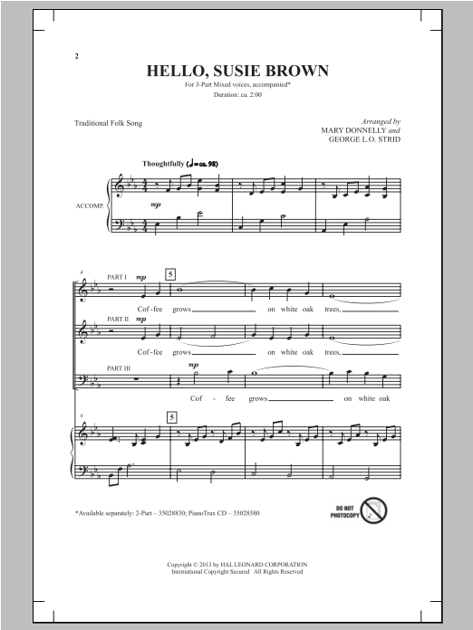 Hello, Susie Brown (arr. Mary Donnelly) Sheet Music