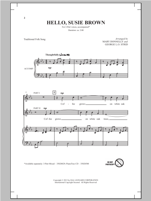 Hello, Susie Brown Sheet Music