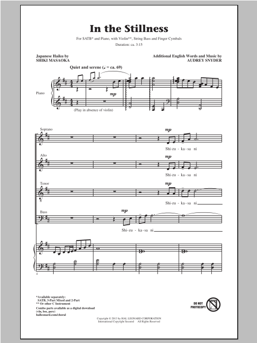 Partition chorale In The Stillness de Audrey Snyder - SATB