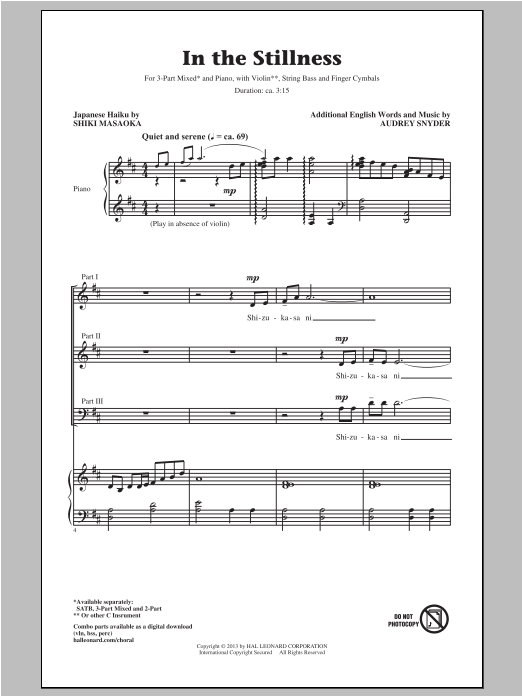 In The Stillness Sheet Music