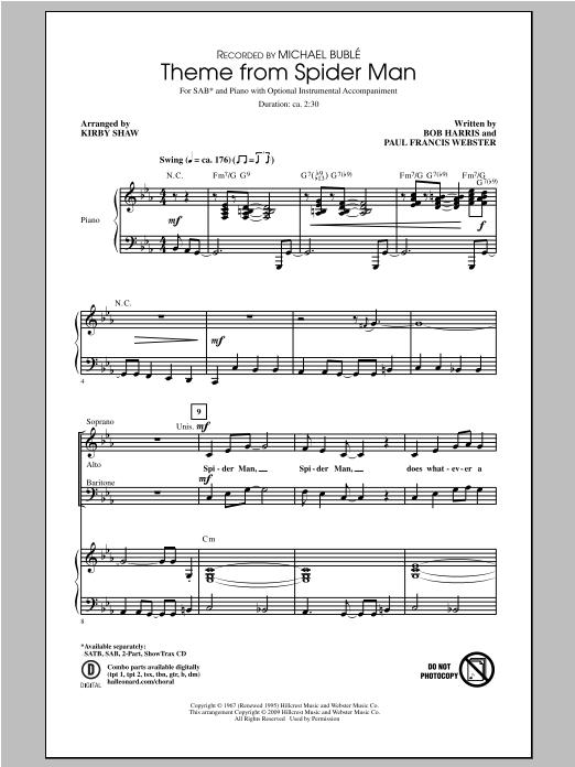 Theme From Spider-Man (arr. Kirby Shaw) (SAB Choir)