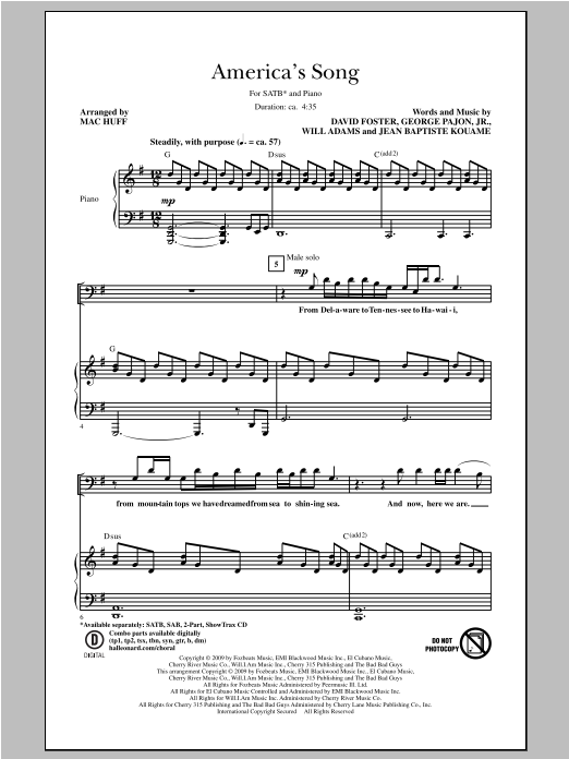 Partition chorale America's Song de Mac Huff - SATB