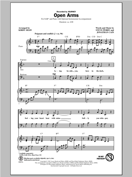 Open Arms (arr. Kirby Shaw) Sheet Music