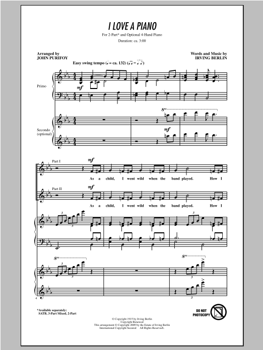 I Love A Piano (arr. John Purifoy) (2-Part Choir)