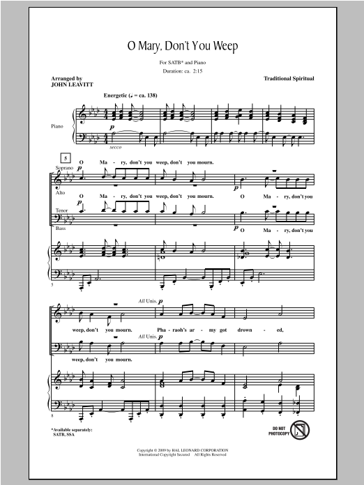 Partition chorale Oh Mary Don't You Weep de John Leavitt - SATB
