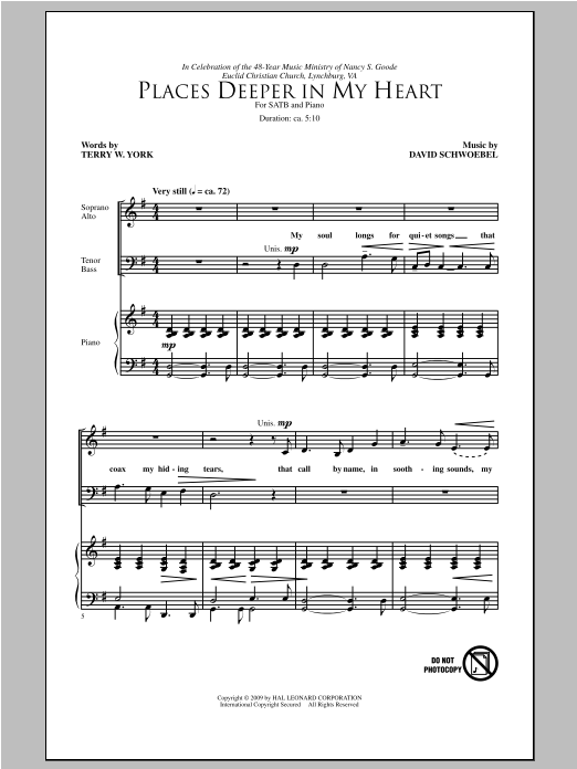 Places Deeper In My Heart Sheet Music