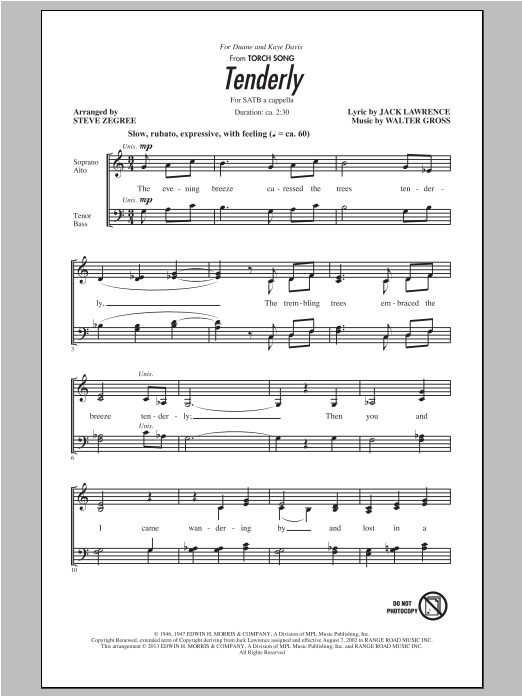 Partition chorale Tenderly de Steve Zegree - SATB