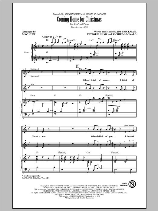 Coming Home For Christmas (arr. Mac Huff) Sheet Music
