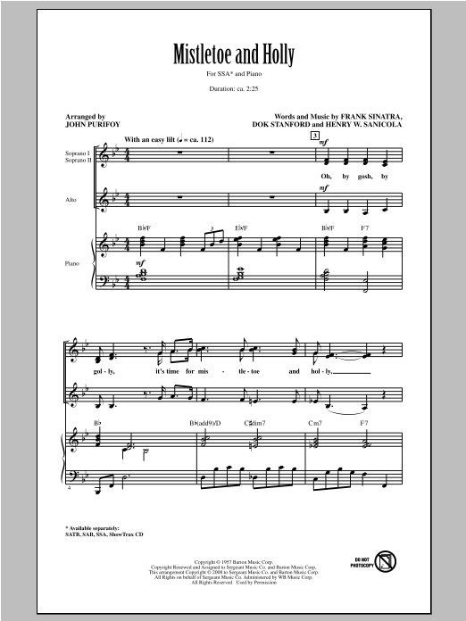 Mistletoe And Holly (arr. John Purifoy) Sheet Music