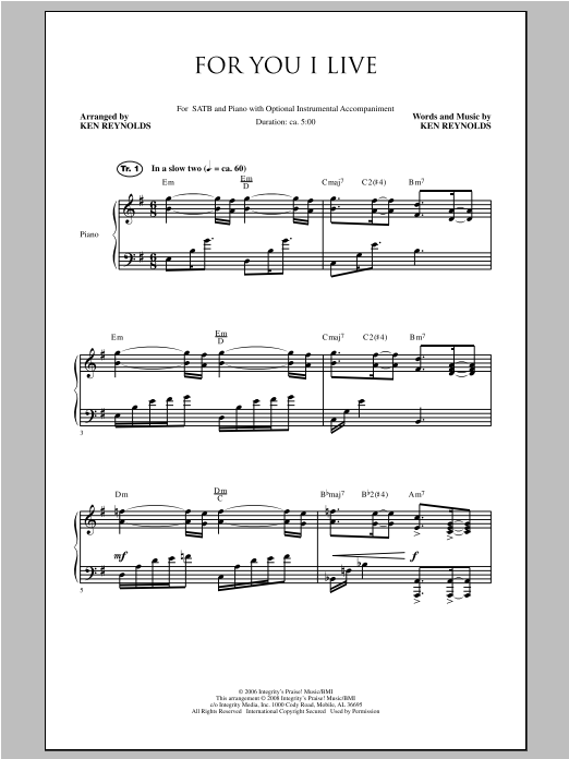 For You I Live Sheet Music