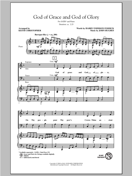 Partition chorale God Of Grace And God Of Glory de Keith Christopher - SATB