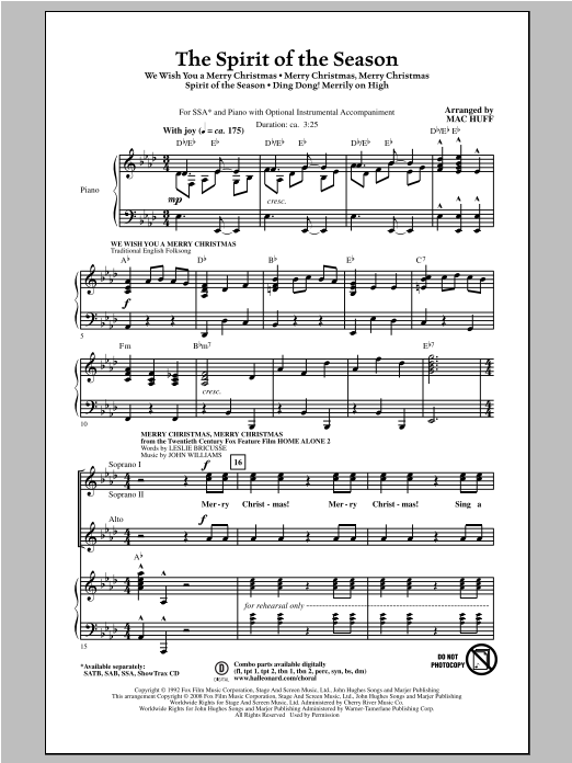The Spirit of the Season (Medley) Sheet Music