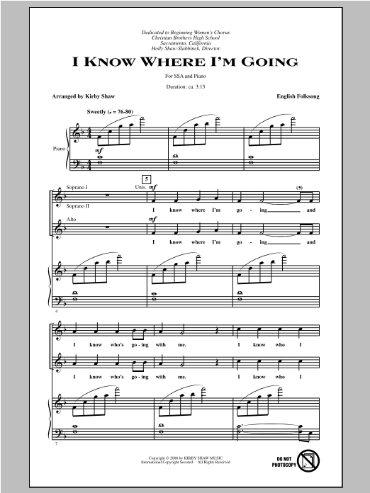 I Know Where I'm Goin' (arr. Kirby Shaw) Sheet Music