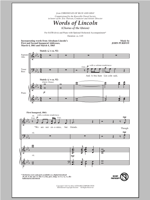 Partition chorale Words Of Lincoln (Chorus of the Union) de John Purifoy - SATB
