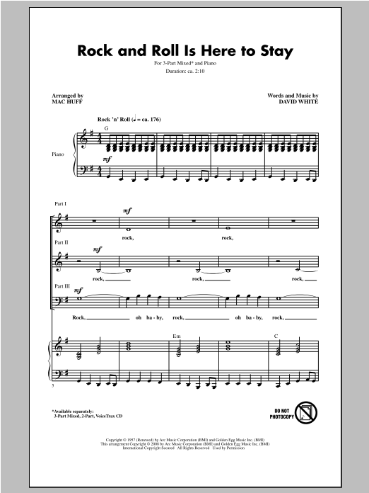 Rock And Roll Is Here To Stay (arr. Mac Huff) Sheet Music
