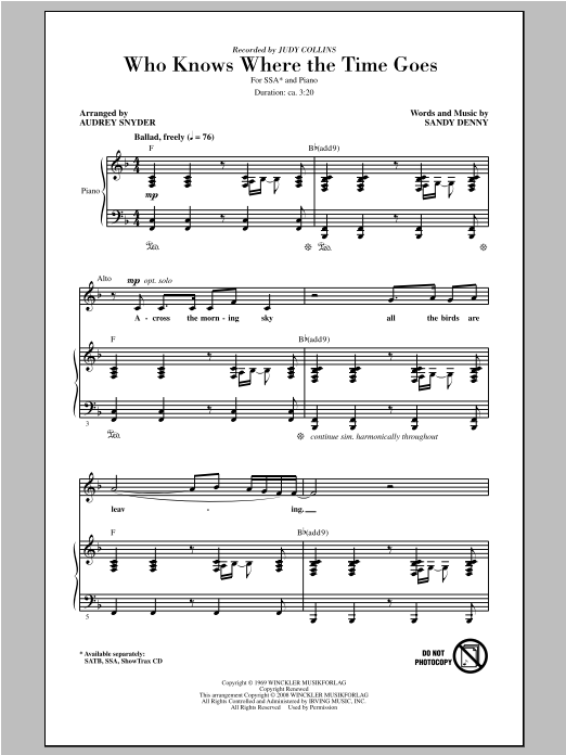 Who Knows Where The Time Goes (arr. Audrey Snyder) Sheet Music