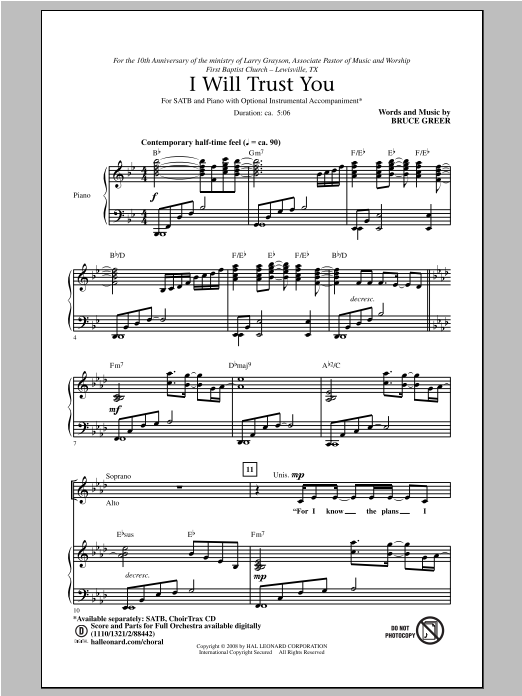 Partition chorale I Will Trust You de Bruce Greer - SATB