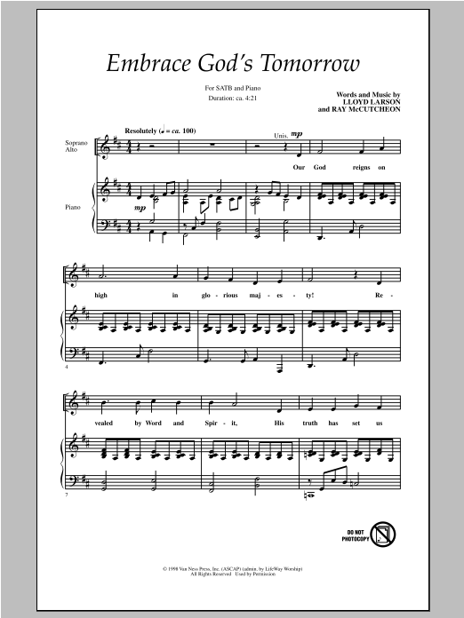 Embrace God's Tomorrow Sheet Music