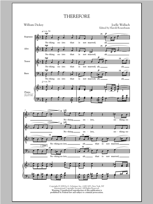 Partition chorale Therefore de Joelle Wallach - SATB