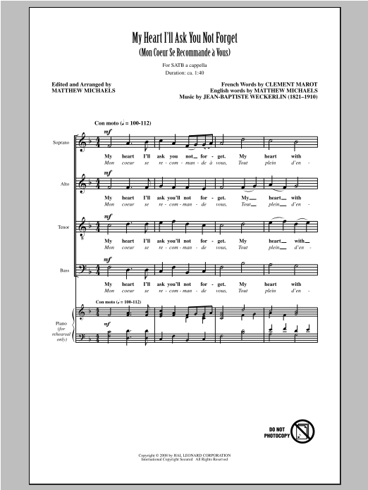 My Heart I'll Ask You Not Forget (arr. Matthew Michaels) (SATB Choir)