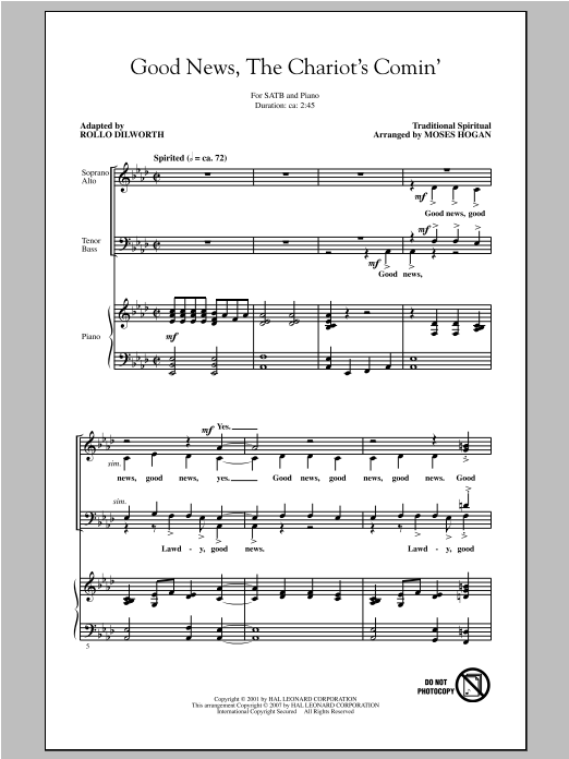 Good News, The Chariot's Comin' (arr. Moses Hogan) Sheet Music