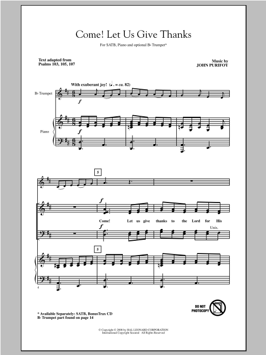 Come! Let Us Give Thanks Sheet Music