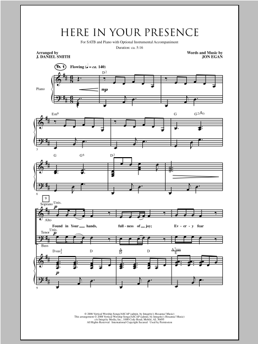 Here In Your Presence (SATB Choir)
