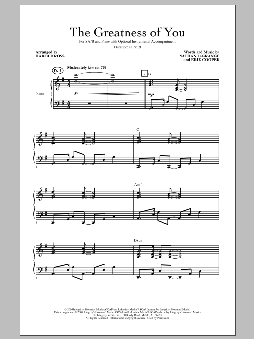 The Greatness Of You Sheet Music