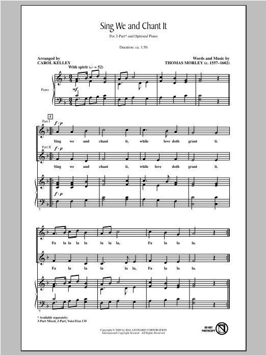 Sing We And Chant It (arr. Carol Kelley) Sheet Music
