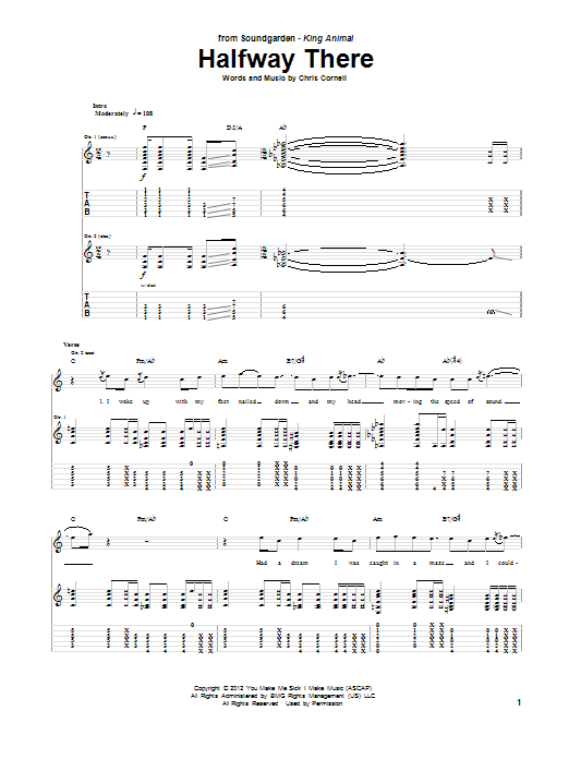 Halfway There Guitar Tab by Soundgarden (Guitar Tab – 98319)