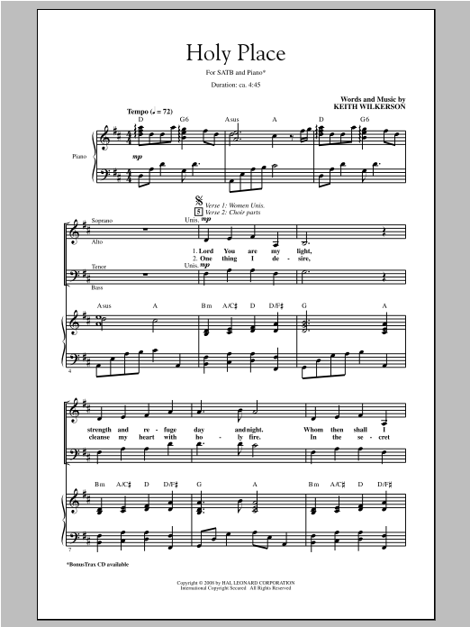 Holy Place (SATB Choir)
