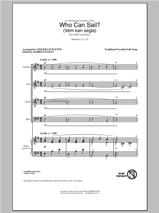 Who Can Sail? (Vem Kan Segla) (arr. Ginger Littleton) Sheet Music