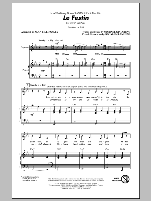 Le Festin (from Ratatouille) (arr. Alan Billingsley) Sheet Music
