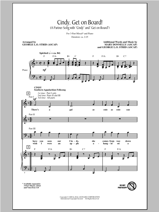 Cindy, Get On Board! Sheet Music