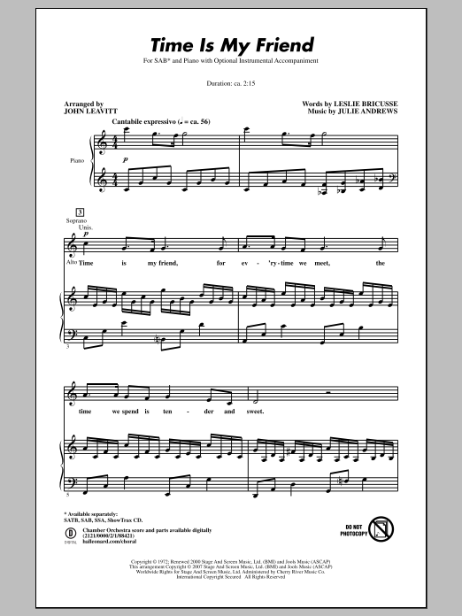 Time Is My Friend (arr. John Leavitt) Sheet Music