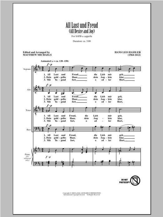 Partition chorale All Lust Und Freud (All Desire And Joy) de Matthew Michaels - SATB