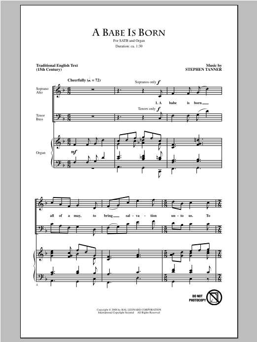 Partition chorale A Babe Is Born de Stephen Tanner - SATB