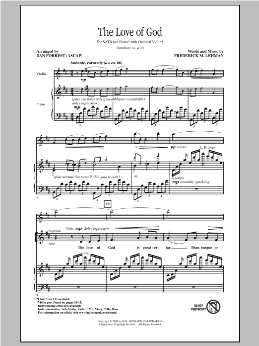 The Love Of God (SATB Choir)