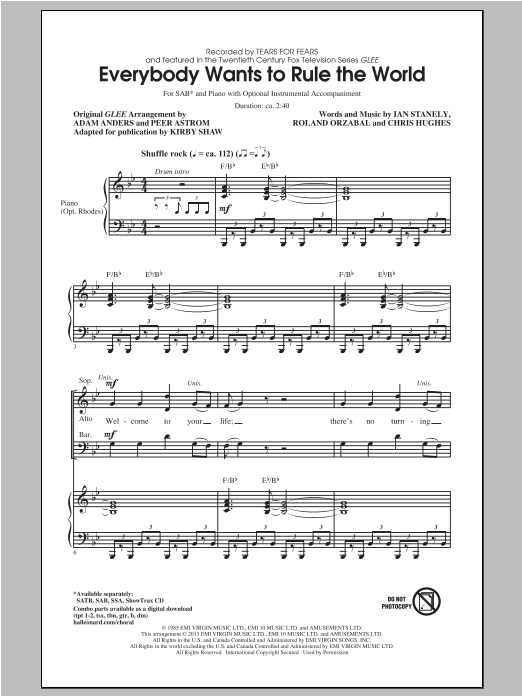 Everybody Wants To Rule The World (arr. Kirby Shaw) Sheet Music