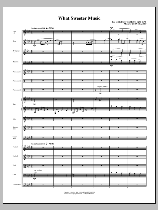 What Sweeter Music (COMPLETE) sheet music for orchestra/band (chamber ensemble) by John Leavitt. Score Image Preview.