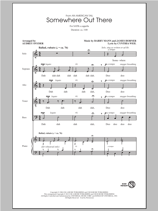 Somewhere Out There (from An American Tail) (arr. Audrey Snyder) (SATB Choir)