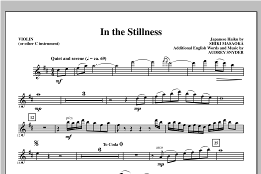 In the Stillness (complete set of parts) sheet music for orchestra/band by Audrey Snyder. Score Image Preview.