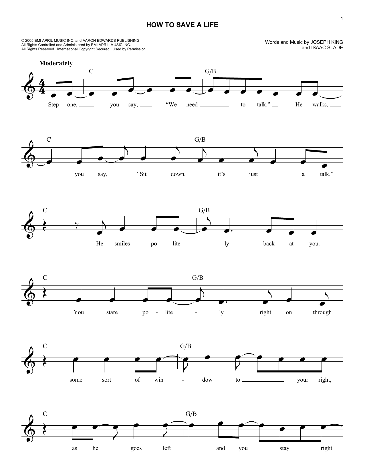 How To Save A Life Sheet Music