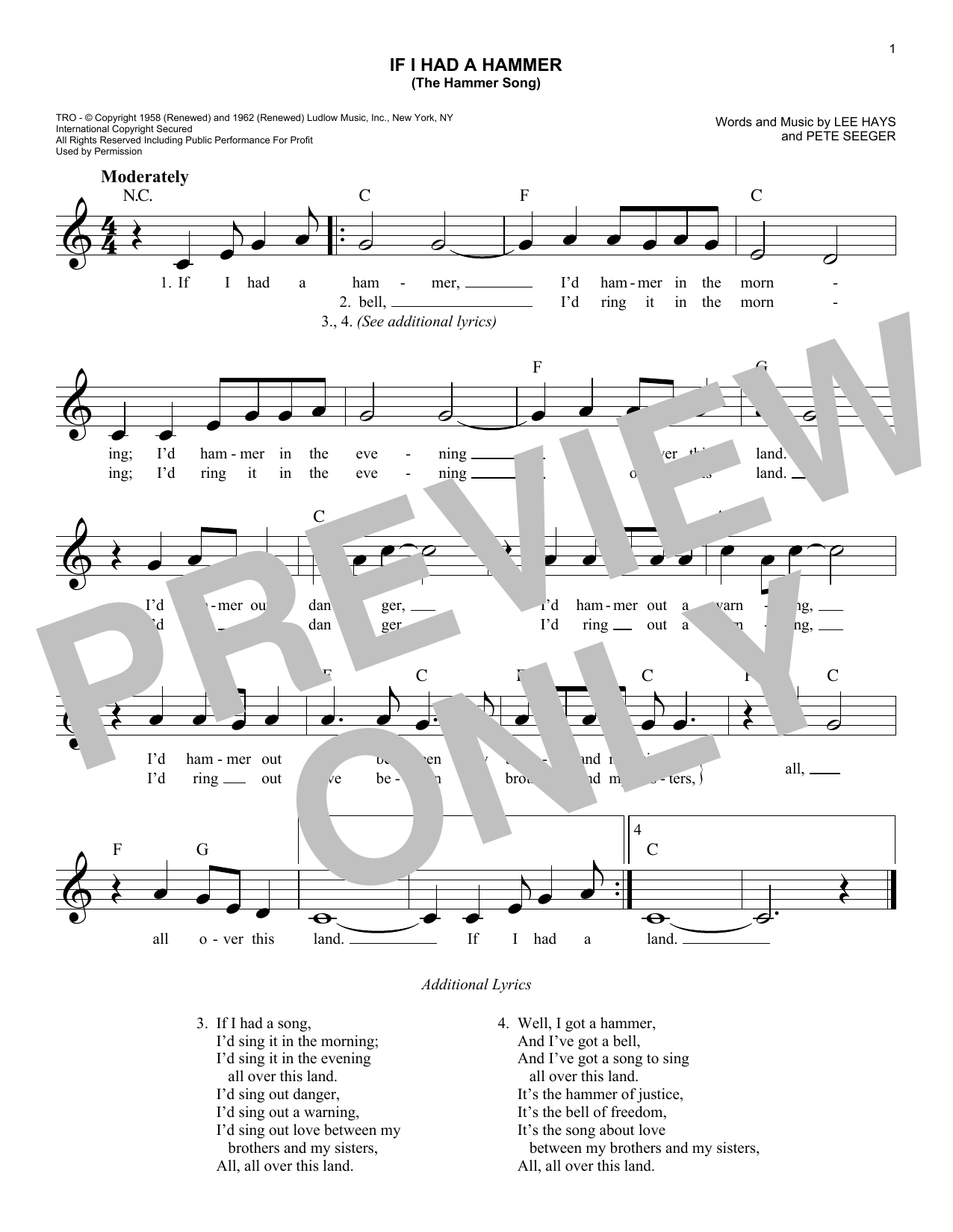 If I Had A Hammer (The Hammer Song) (Lead Sheet / Fake Book)