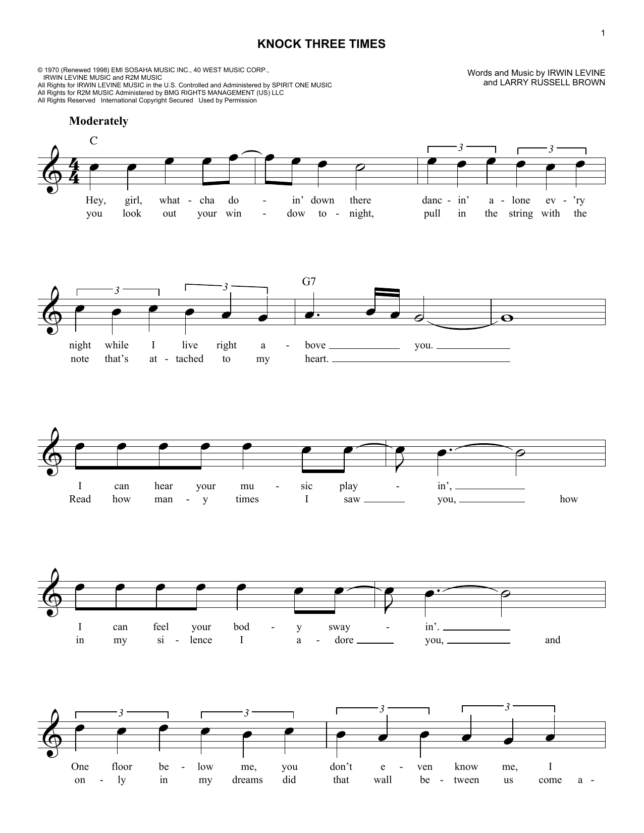 Knock Three Times (Lead Sheet / Fake Book)