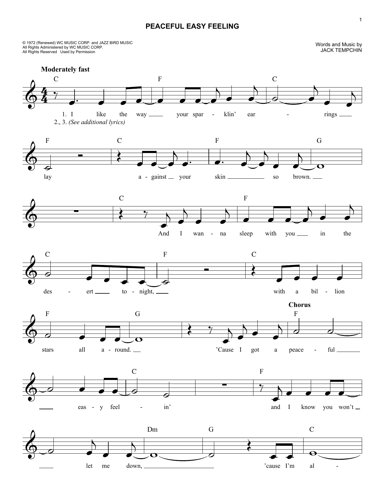Peaceful Easy Feeling Chords By Eagles Melody Line Lyrics Chords