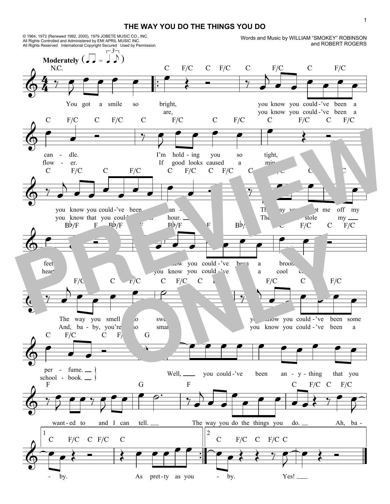 The Way You Do The Things You Do (Lead Sheet / Fake Book)