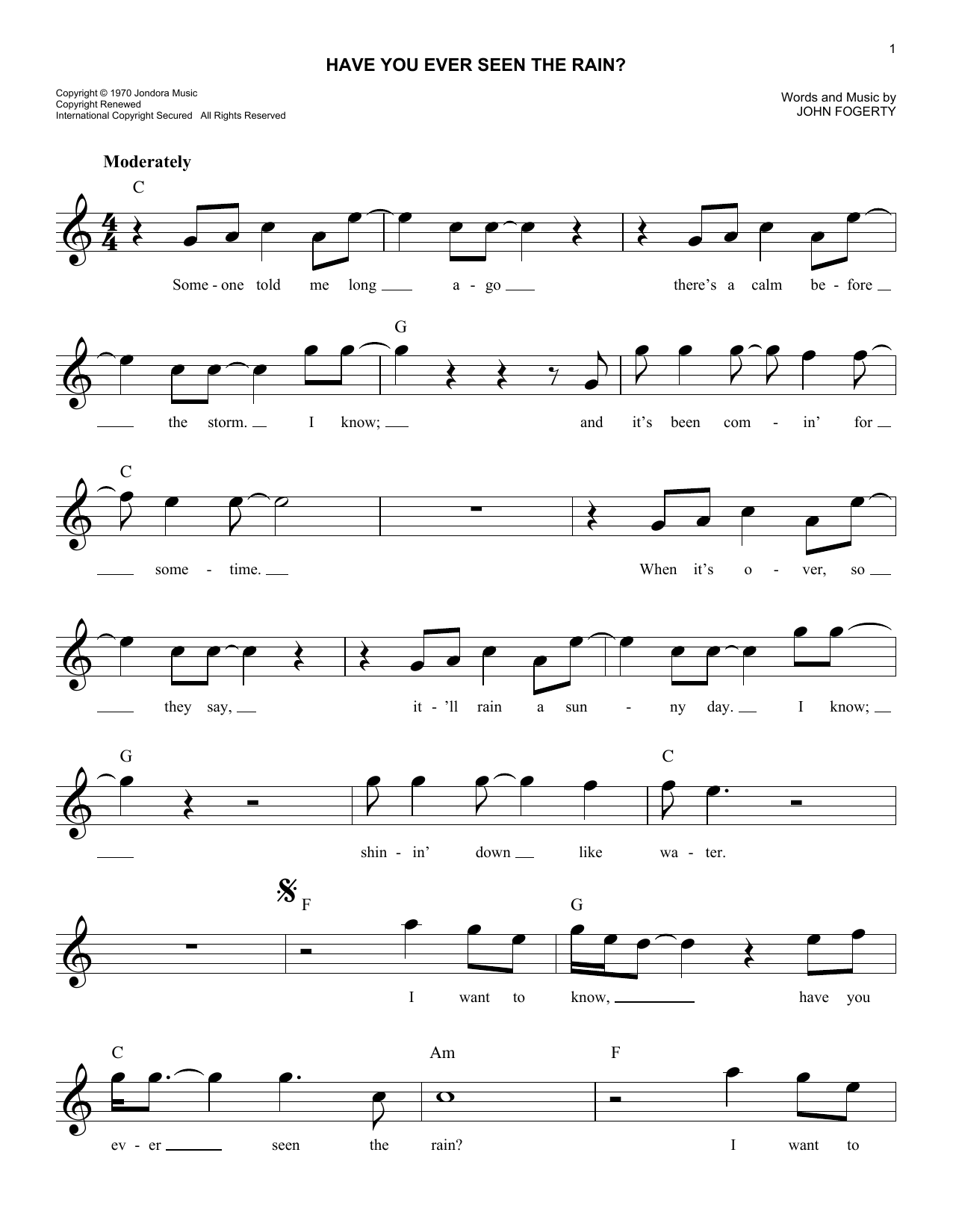 Have you ever seen the rain chords by creedence clearwater have you ever seen the rain sheet music hexwebz Choice Image