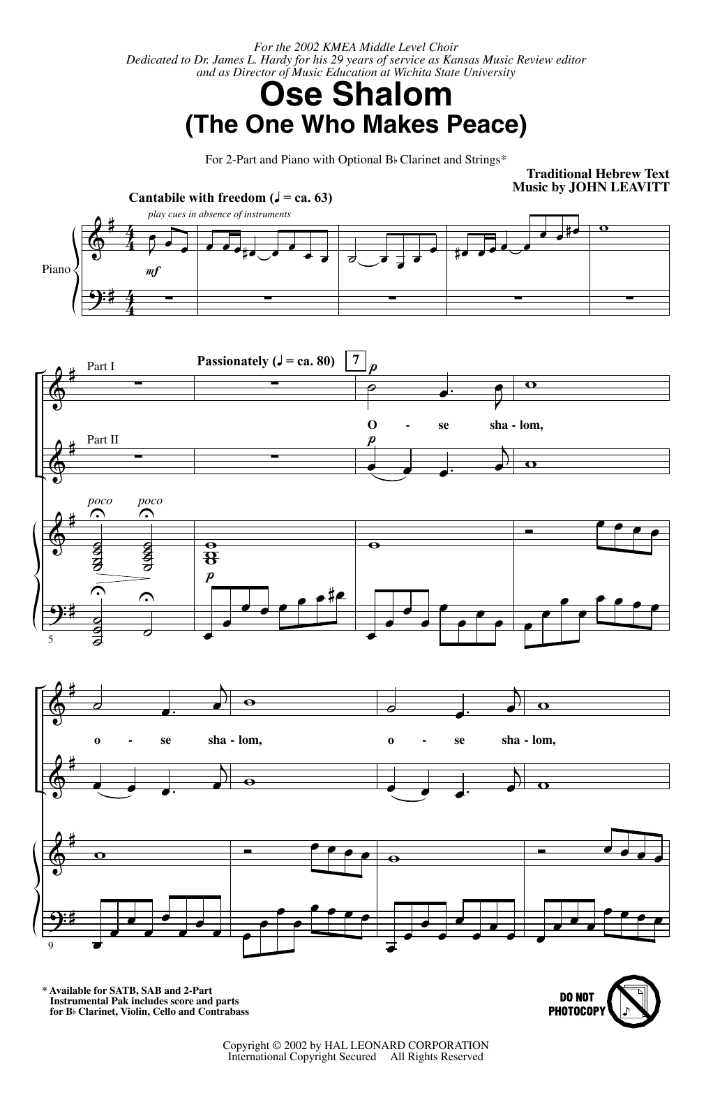 7 Years Piano Pdf ose shalom (the one who makes peace)john leavitt 2-part choir digital  sheet music