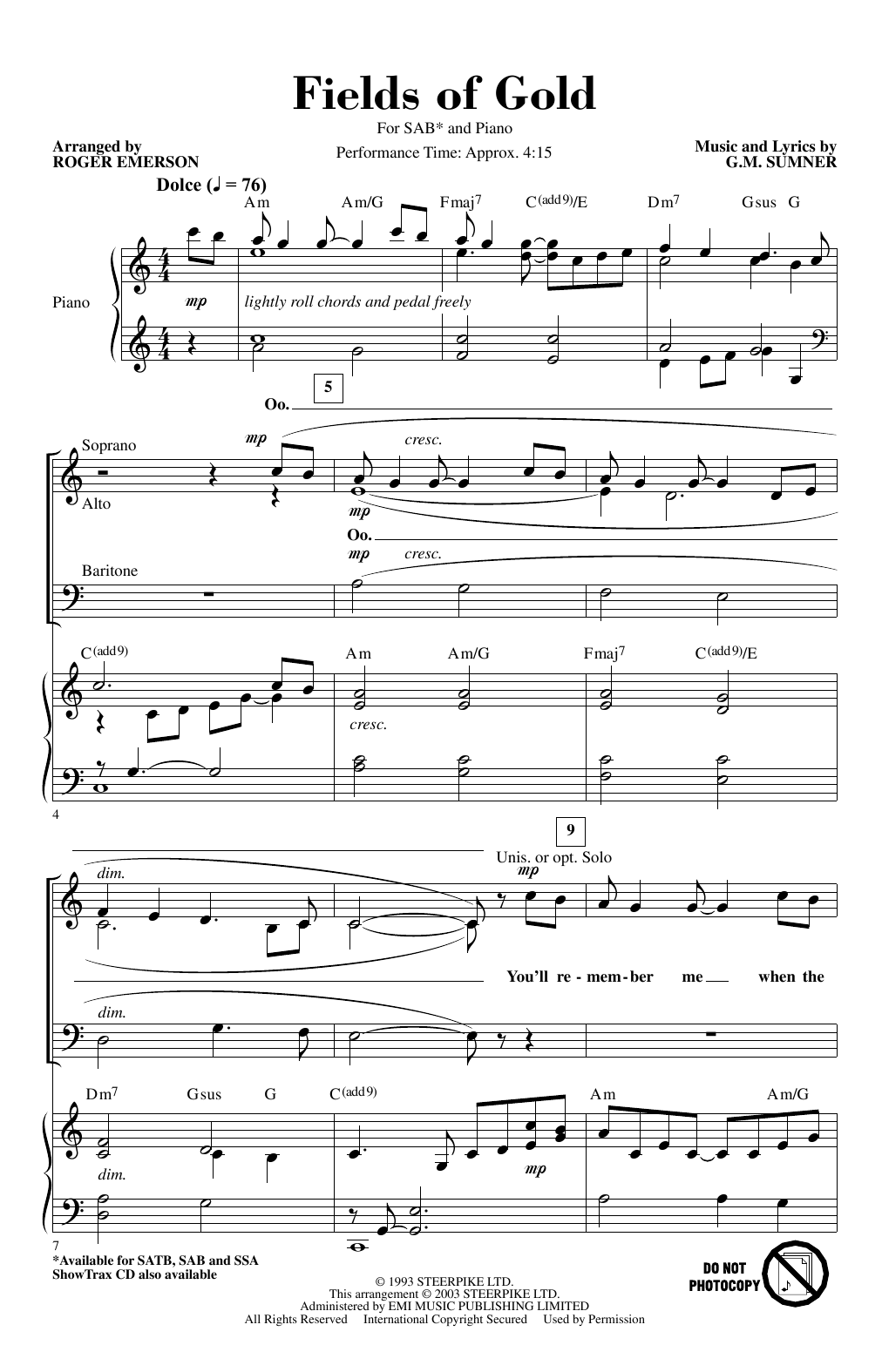 Fields Of Gold (arr. Roger Emerson) (SAB Choir)